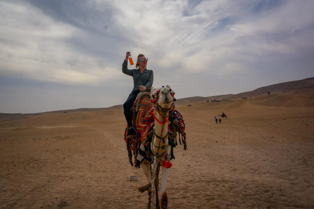 Seeing Pyramids of Giza on camels