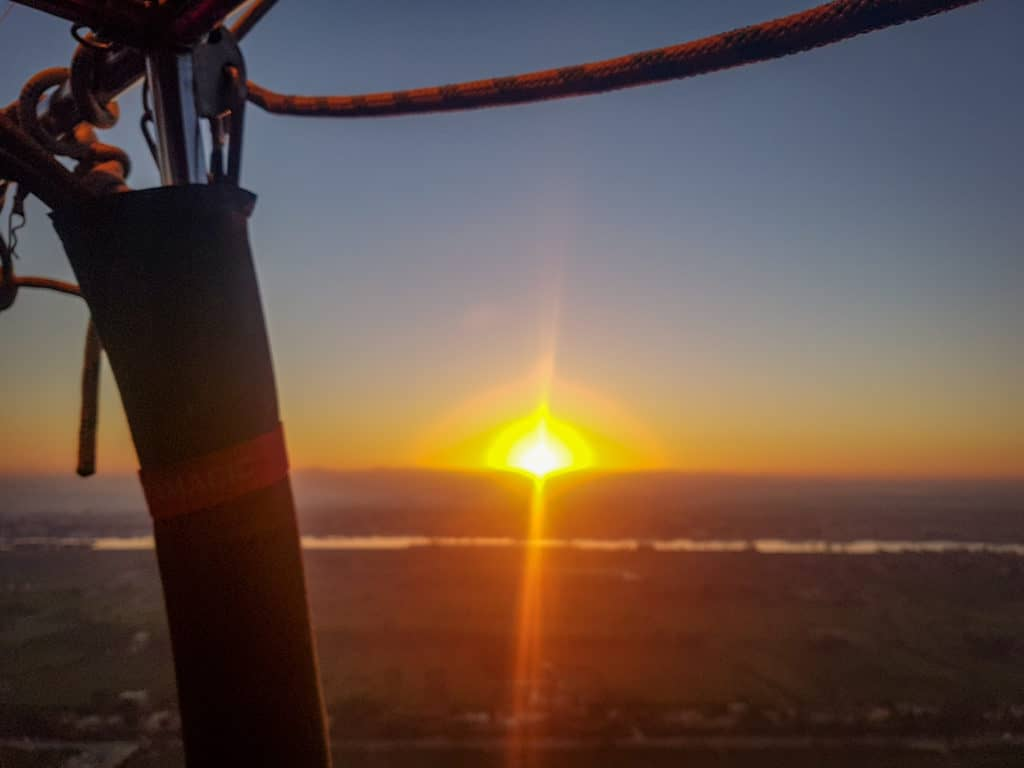 Watching sunrise over Luxor from hot air balloon