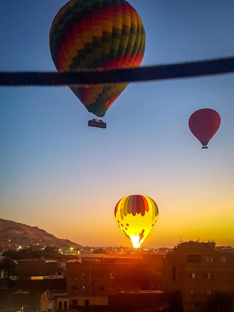 Watching hot air balloons take off over Luxor