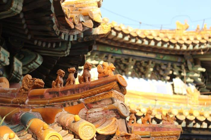 Up close pic of architecture of Summer Palace Beijing