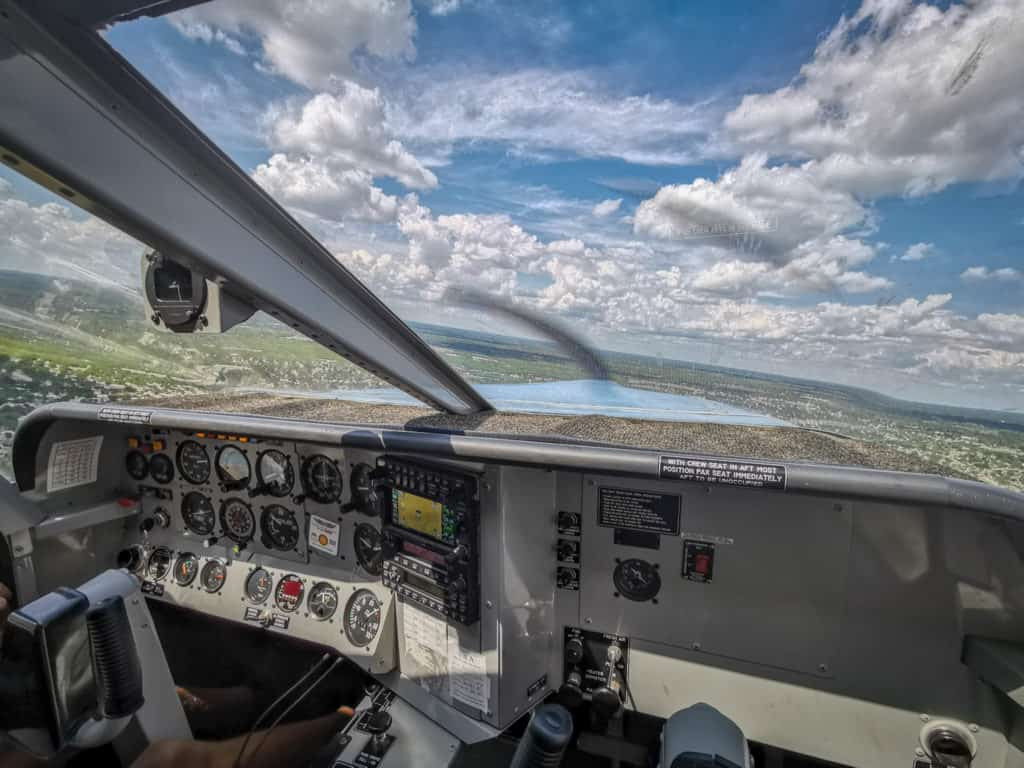 view from the cockpit window