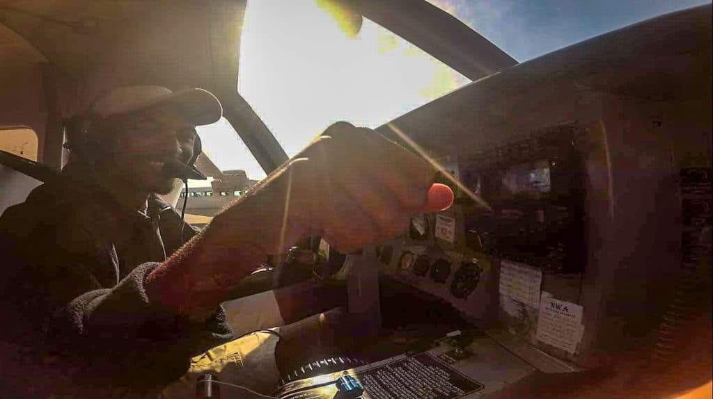 Fist bumping the pilot after our safe landing