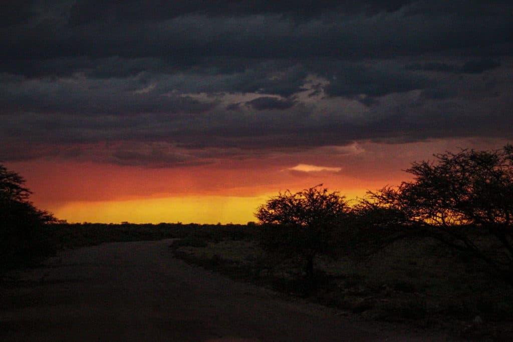 Sunset before etosha night safari