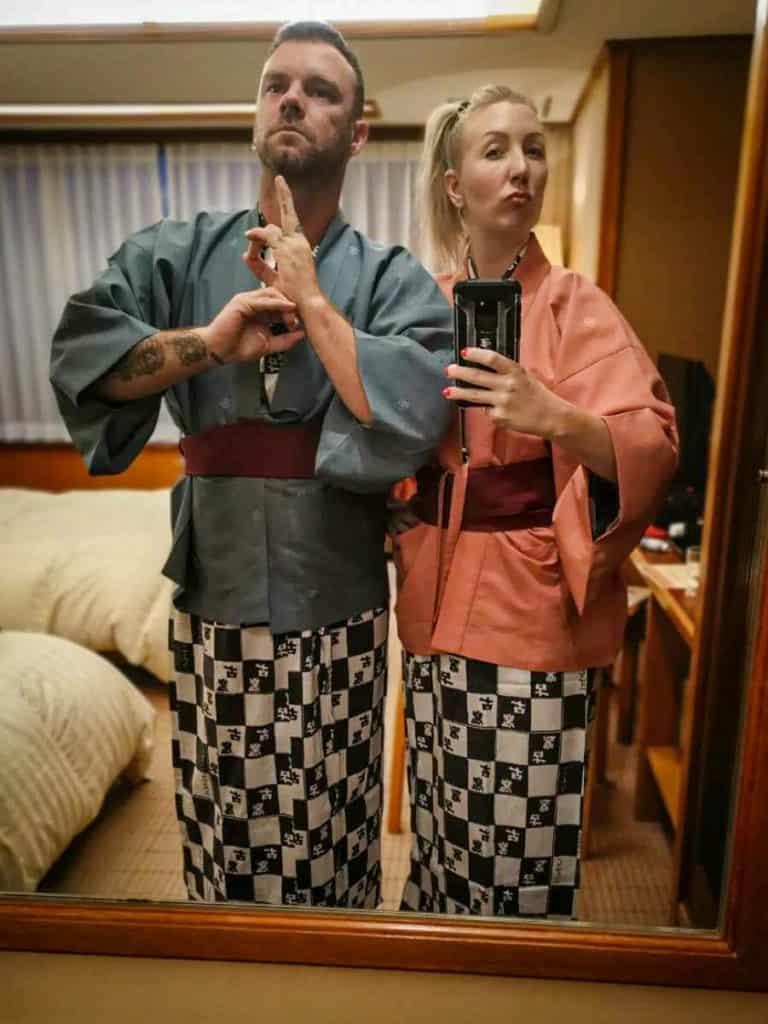 Wearing authentic kiminos in Kaminoyama onsen