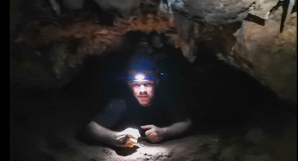Crawling around in Kelly Hill caves