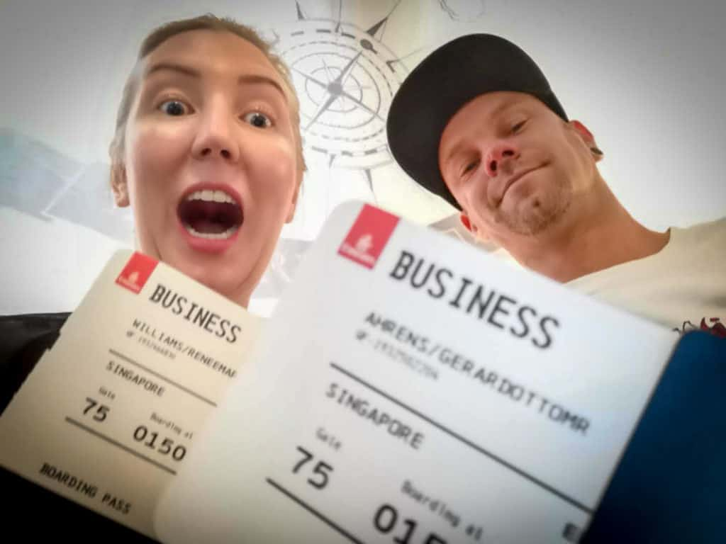 Holding our business class tickets