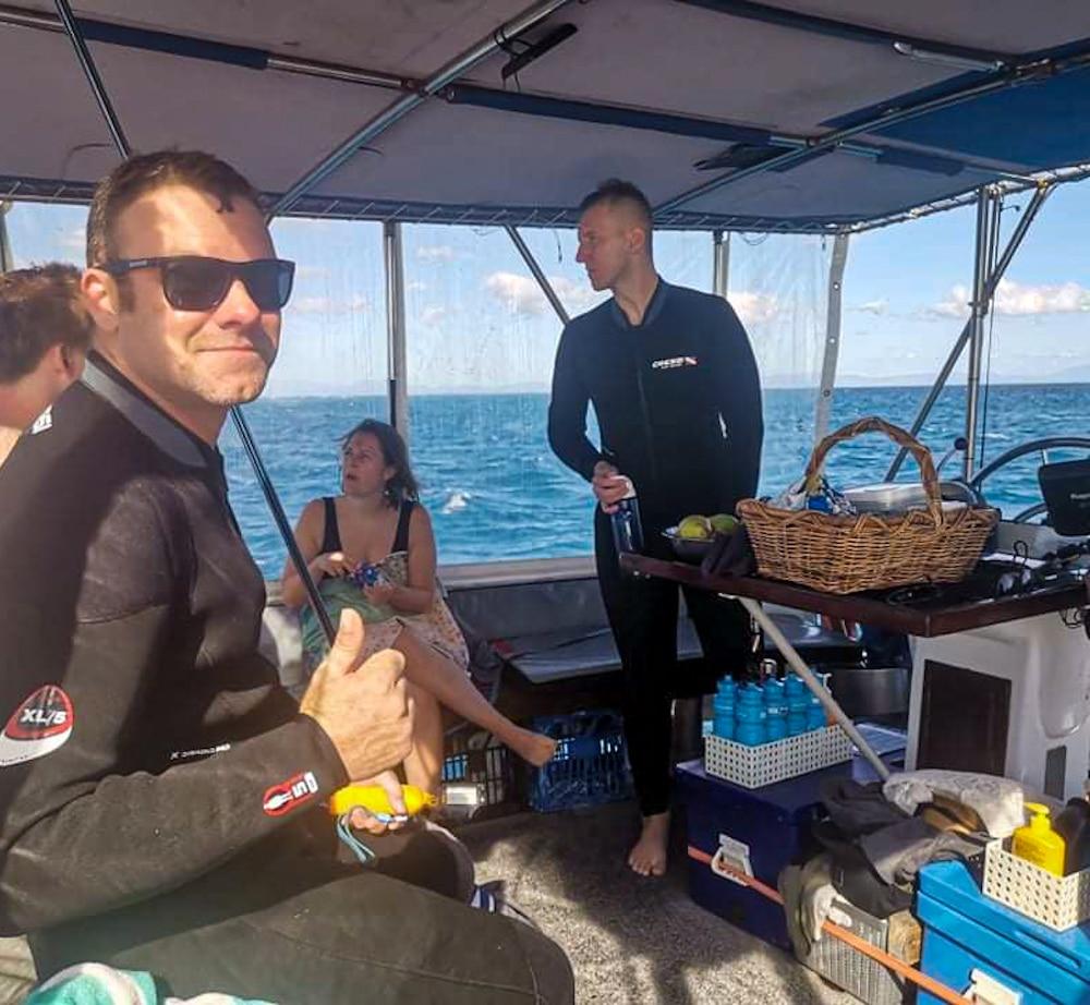 Break time on great barrier reef liveaboard